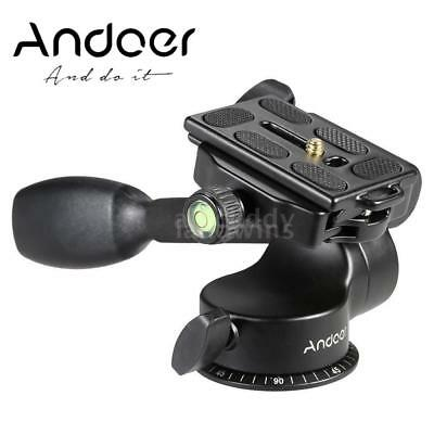 Andoer Q08 Video Tripod Ball Head+Quick Release Plate,Rocker for Camera Monopod
