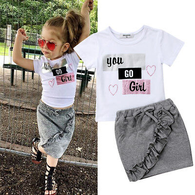 US Newborn Infant Kid Baby Girls Tops T-shirt Skirts Floral Dress Outfit Clothes