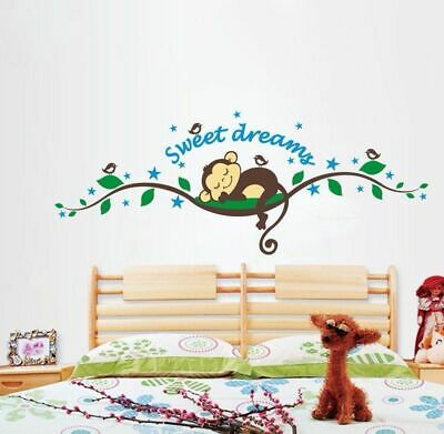Sweet Dream Monkey Removable Wall Sticker Decal Kid Baby Nursery Room Home Decor
