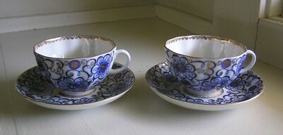 2 Pairs Sets Lomonosov Russia Cups & Saucers Blue Gold Flowers
