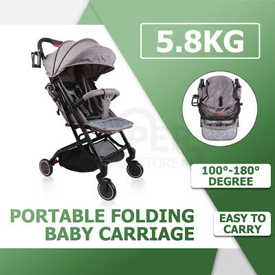 Portable Baby Stroller Bassinet Jogger Pram Seat Carry Foldable Compact Oxford