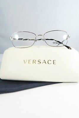 874135d20e0 VERSACE WOMEN S SILVER Glasses with Case New MOD 1228 1266 53mm ...