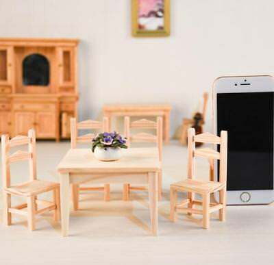 5Pcs Set 1:12 Dollhouse Miniature Kitchen Furniture 1 Wooden Table + 4 Chairs A