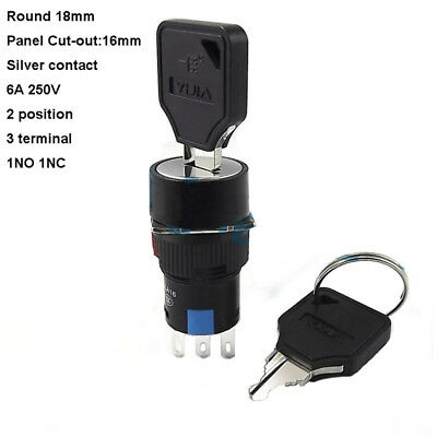 16mm Round 6A 250V 16mm On/Off Security Key Switch Lock 3 Pin 2 Position 1NC 1NO