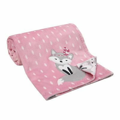 Lambs & Ivy Fox Reversible Minky Blanket - Pink