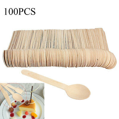 100Pcs Disposable Wooden Ice Cream Spoon Mini Wood Dessert Scoop Party Tableware