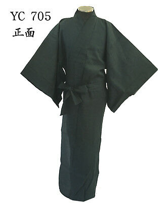 Japanese Men's Shijira Style Yukata with Obi - Navy