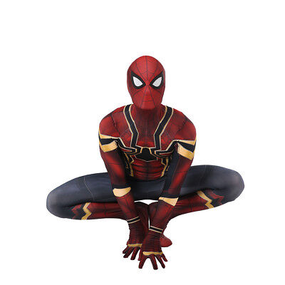Cosplay Spiderman Kid adult Costume Iron Spider Man Superhero Bodysuit Halloween
