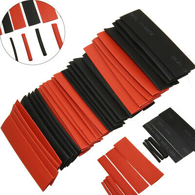 127pcs Gaine Thermo Rétractable Thermodurcissable Tuyau Ratio 2:1 Rouge & Noir