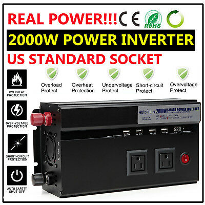 Real High Power!!! 2000W Car Power Inverter Converter DC 12V to AC 110V Charger
