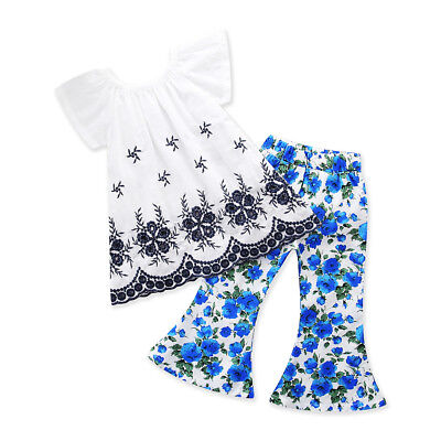 Stylish Toddler Kids Girls Floral Tops Dress Pants 2Pcs Outfits Set Clothes 1-6T