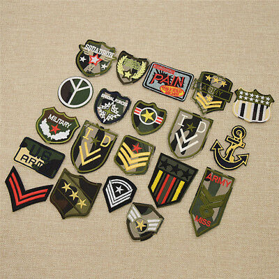 12pcs/Set Military Rank Embroidered Iron on Patches DIY Bag Hat Decor Applique