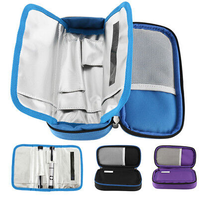 Portable Diabetic Medical Travel Cooler Bag Insulin Cooler Case 2 ice bags pouch