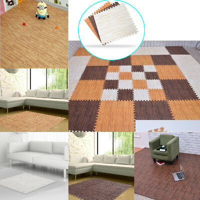 Wood Grain Tiles Interlocking Puzzle Floor Mat Foam Kids Baby Safety Exercise US