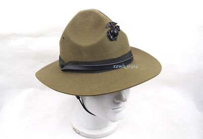 USMC Style Trooper Brown Drill Sergeant Wool Felt Hat WITH Cap badge