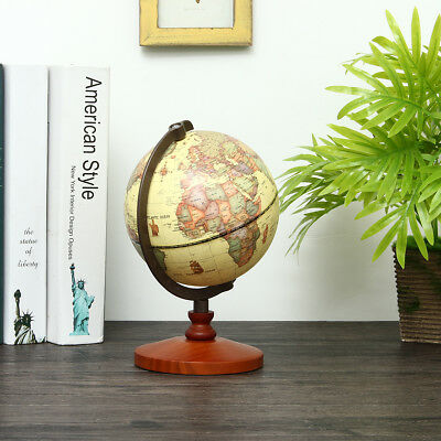 AU 14cm Vintage Desk Table Rotating Earth World Map Globe Geography Decor Gift