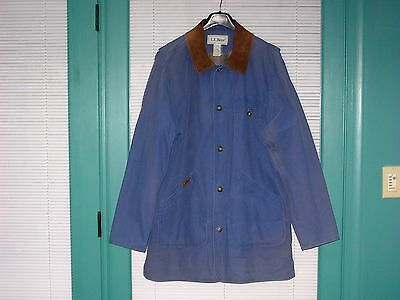 LL Bean Men's Blue Casual Lightweight 100% Cotton Coat/Jacket Plaid Cotton Lined