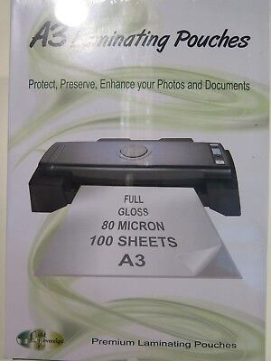 A3 Laminating Pouch Full Gloss 303 x 426mm 80 Microns 100Pk Gold Sovereign