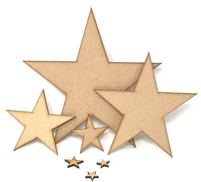 Wooden MDF Star Shapes 20mm to 200mm laser cut Stars, Embellishment, decoupage