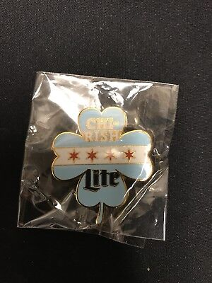 Chi-Rish Shamrock Chicago Flag Miller Lite Irish Collectible Pin St. Patrick's