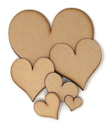 Wooden MDF Heart Shapes 20mm to 200mm laser cut Stars, Embellishment, decoupage
