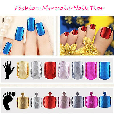 24/500pcs Mermaid Metallic Full False Nails Finger/Toe Tips Manicure Pedicure