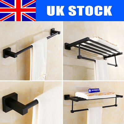 WALL MOUNTED BATHROOM Single/Double Towel Rail Holder Shelf Rack ...