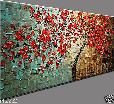 YAKAI Hand-painted Thick Palette knife Art Oil Painting Large Red Tree 24x48in