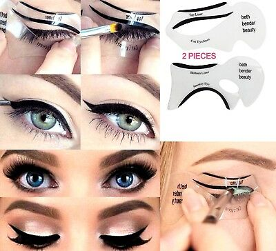 2 Piece Quick Easy Eyeliner Wings Smokey Cat Eyes Stencils Guide Tool *FREE P&P*