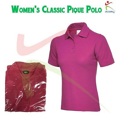 Women's Classic Pique Polo Shirt Ladies Plain Short Sleeve TOP Hot Pink XS S 2XL