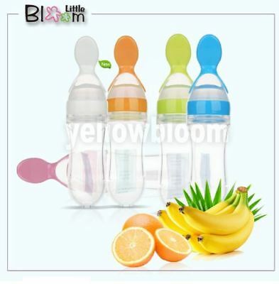 Baby Safe Squeezing Silicone Feeding Spoon Training Scoop Newborn Infant Bottle