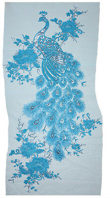Extra Large Peacock sequin embroidered lace motif  size: 101 cm x 55 cm R Blue