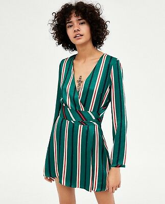 97aae5ff802 Zara New Striped Wrap Dress Playsuit V-Neck Green Red Mini Crossover Size  Xs-