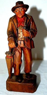 Vintage Hand Carved Old Man With Umbrella And Pipe~Great Detail