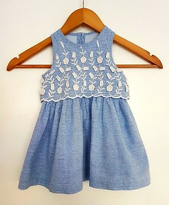 MATALAN BLUE STRIPED summer girls dress with floral embroidery 6-9 ...