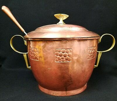 Vintage Hand Hammered Copper & Brass Punch Bowl with WMF Ladle Signed CED