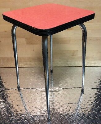 Stool Vintage Formica square YEAR 50's - 60's - red Pop