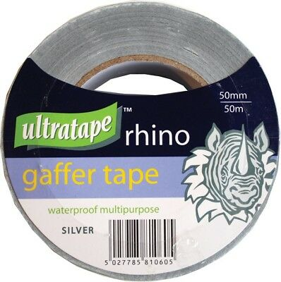 Ultratape Rhino Silver 50 mm x 50 Metre Cloth Tape Gaffer Duck Duct Waterproof