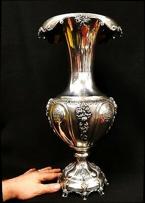 """Antique Monumental Continental .800 Silver Repousse' Vase 18"""" in height"""