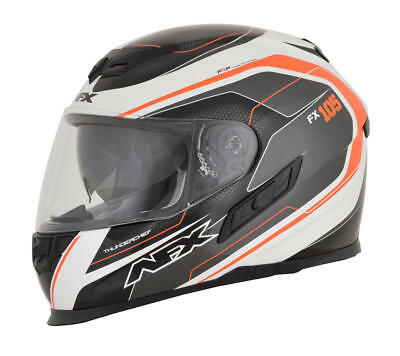 Afx Helm Fx-105 Thunderchief Street Helmet Black/white/orange Large