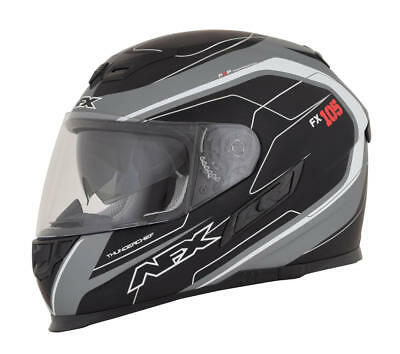 Afx Helm Fx-105 Thunderchief Street Helmet Black/frost Gray/white Small
