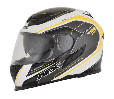 Afx Helm Fx-105 Thunderchief Street Helmet Black/white/yellow Large