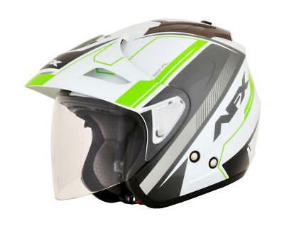 Afx Helm Fx-50 Signal Jet Helmet 2X-Large White/gray/bright Green 2X-Large