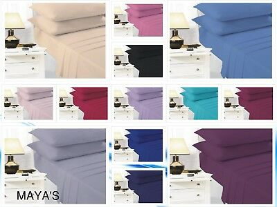 Polycotton Plain Dyed Non Iron Percale Deep Extra Deep Fitted Sheets Easy Care
