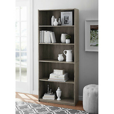 Solid Wood Bookshelf Storage Furniture Oak 5 Shelf Bookcase Adjustable  Shelves