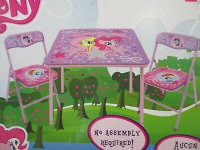 Hasbro My Little Pony Table and Chairs Set - Girls Kids Toys Pink/Purple - NEW