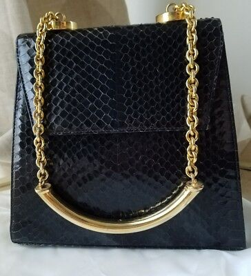 37a3368436 Vintage Gianni Versace Couture Black Python gold Chain Strap envelope bag  🖤🐍