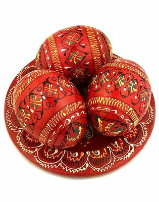 3 Red Ukrainian Hand Painted Wooden Easter Eggs Pysanky on Plate 2 5/8 Inch