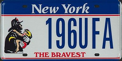 NEW YORK N.Y. FDNY Firefighter F.D. The BRAVEST license plate RARE unused MINT