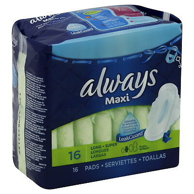 Always Maxi Pads w/ Wings, Long Super, 16 Ct (12 Pack)